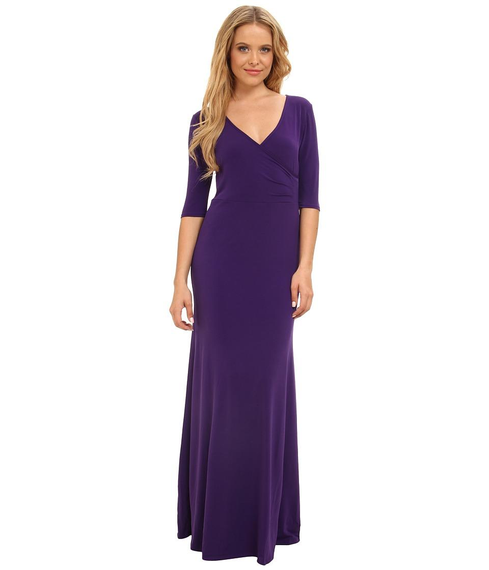 Christin Michaels - Ali 3/4 Sleeve Wrap Dress (Eggplant) Women