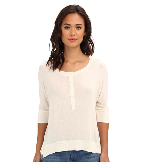 Splendid - Drapey Lux Henley Top (Bone) Women's T Shirt