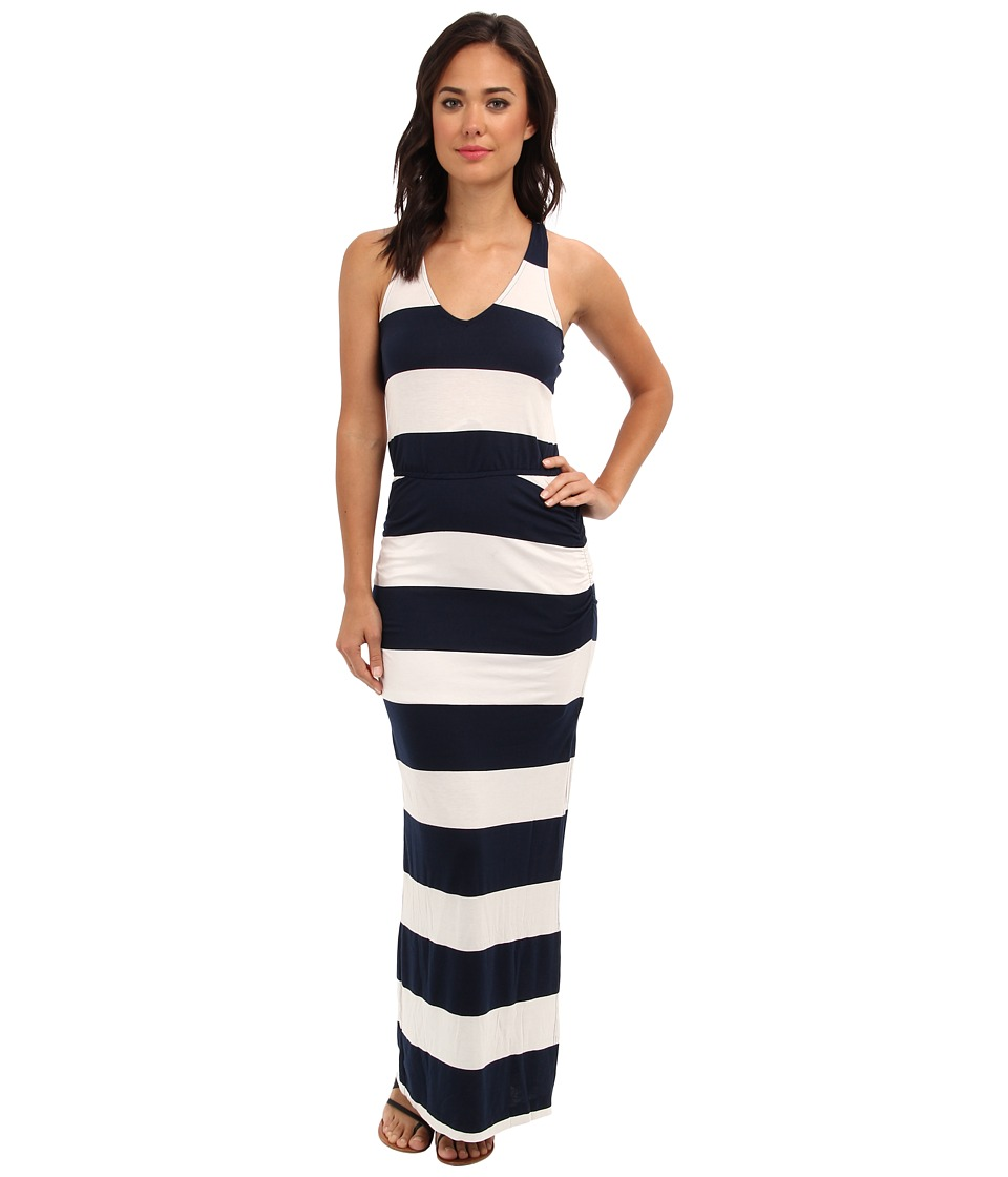 Splendid - Luna Lake Stripe Ruched Maxi Dress (Navy) Women's Dress