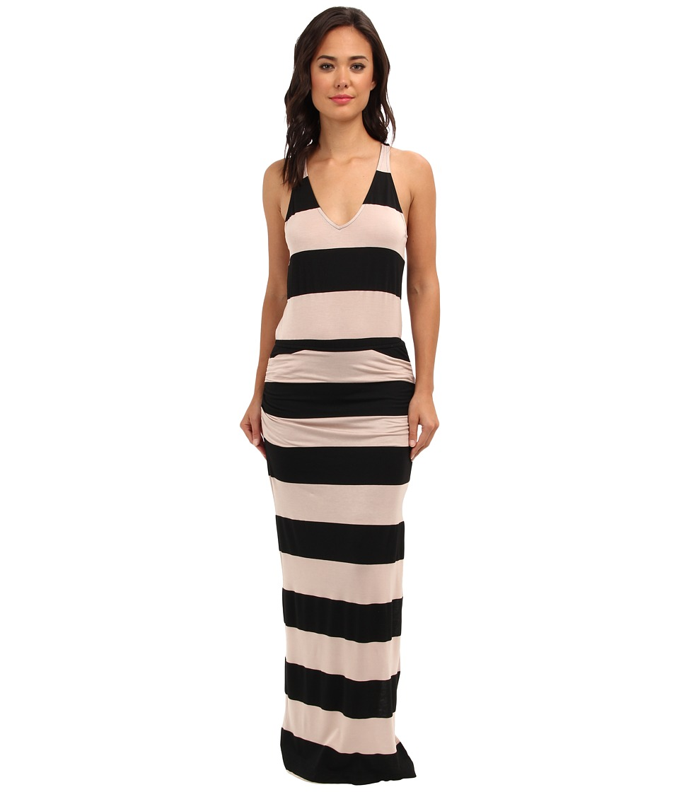 Splendid - Luna Lake Stripe Ruched Maxi Dress (Almond) Women's Dress