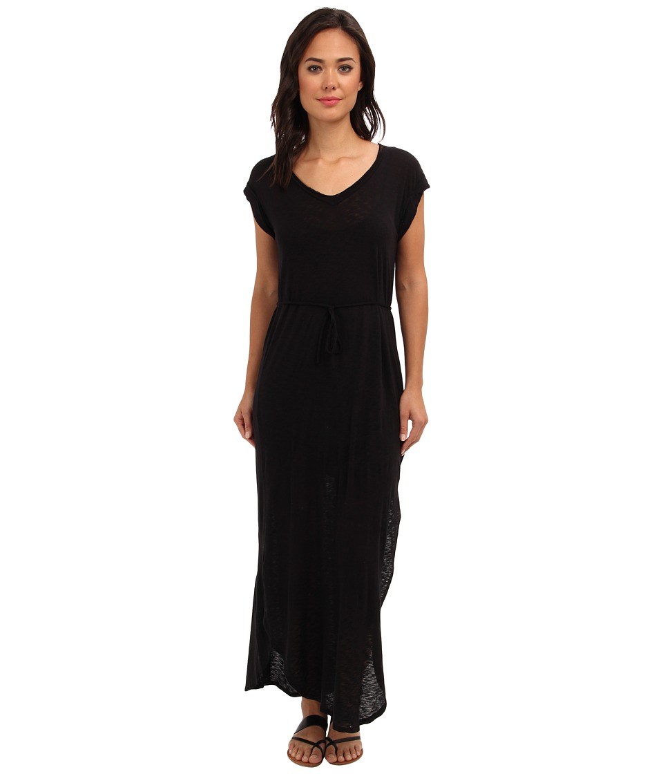 Splendid - Slub Maxi Dress with Tie Waist (Black) Women's Dress