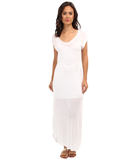 Splendid - Slub Maxi Dress with Tie Waist (White) Women