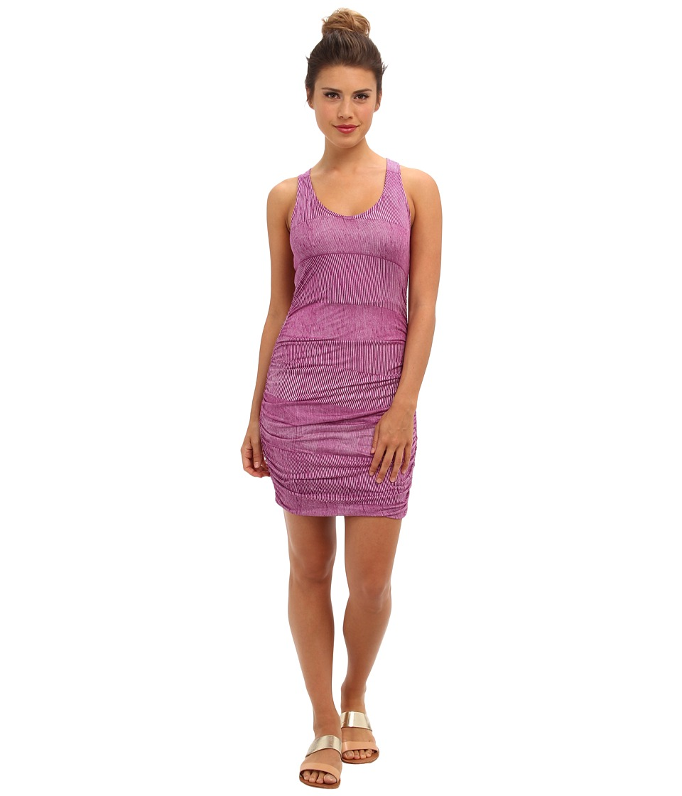 Splendid - Textured Ink Stripe Ruched Mini (Very Berry) Women's Dress