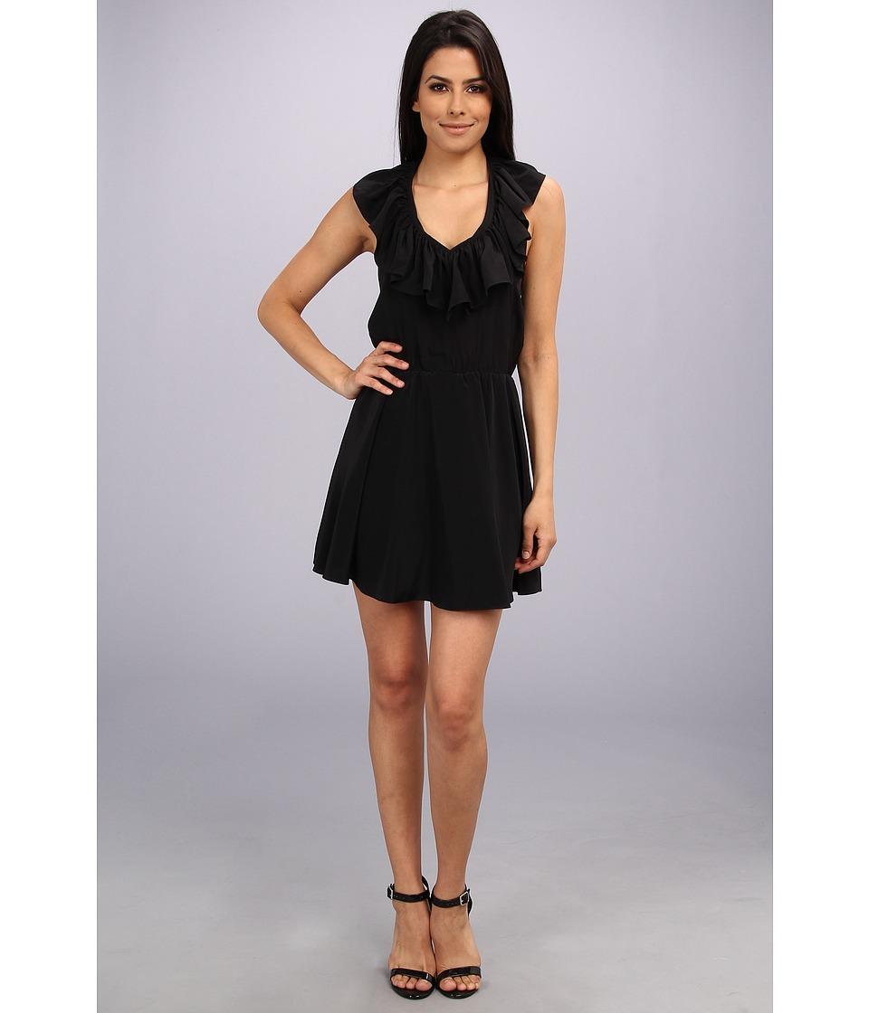 Amanda Uprichard Ruffle Halter Dress (Black) Women