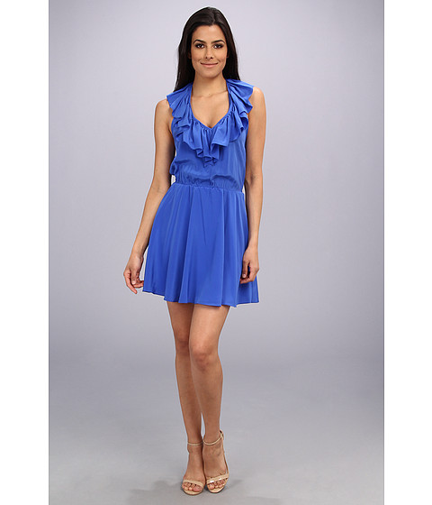 Amanda Uprichard - Ruffle Halter Dress (Cobalt/Cobalt/Academy) Women's Dress