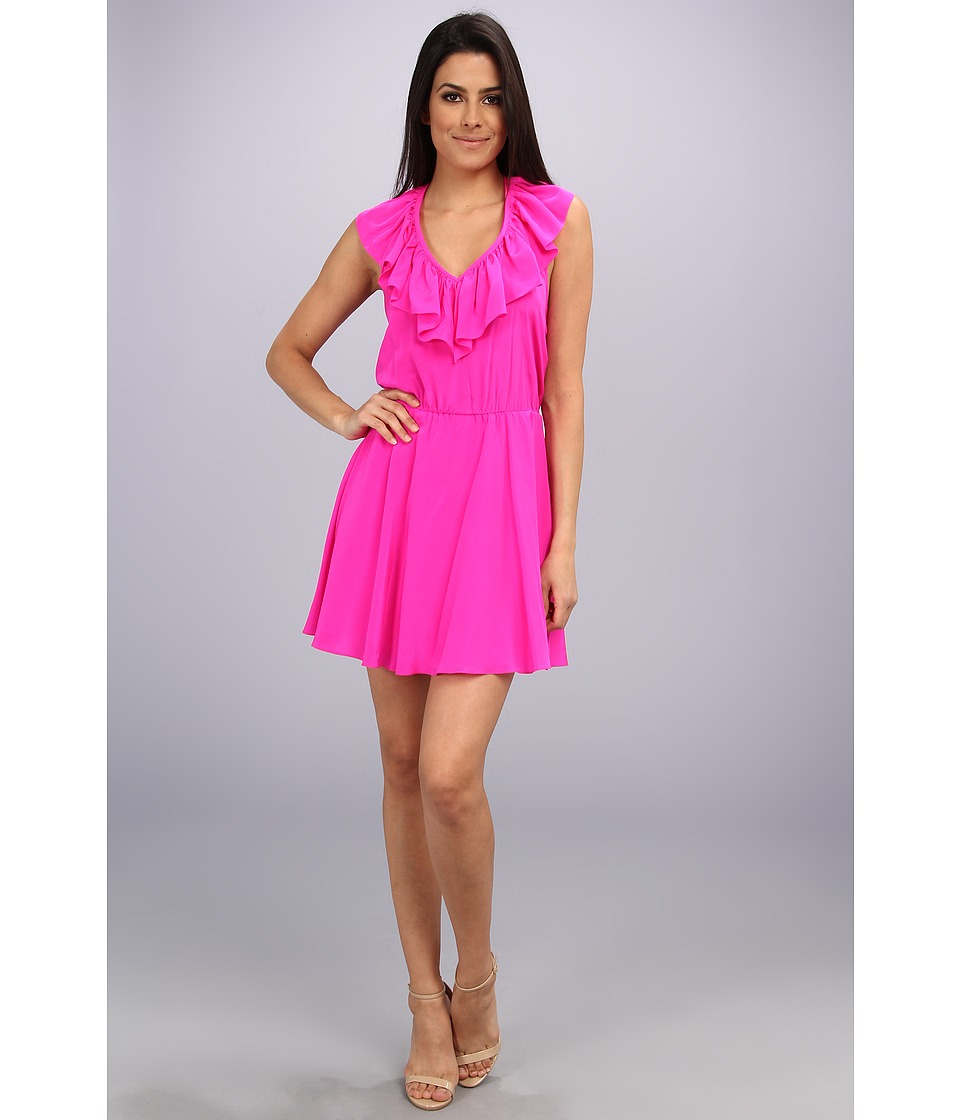 Amanda Uprichard - Ruffle Halter Dress (Hot Pink) Women's Dress