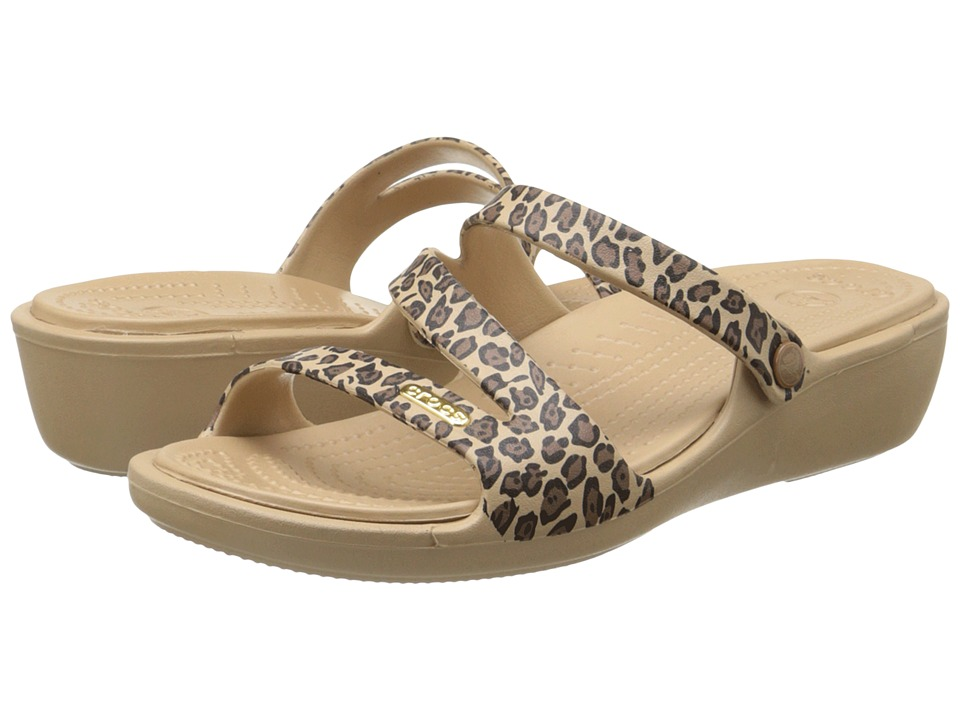 Crocs - Patricia Leopard Wedge (Gold/Black) Women's Wedge Shoes