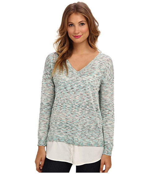 kensie - Shiny Space Dye Sweater (Hazy Aqua Combo) Women