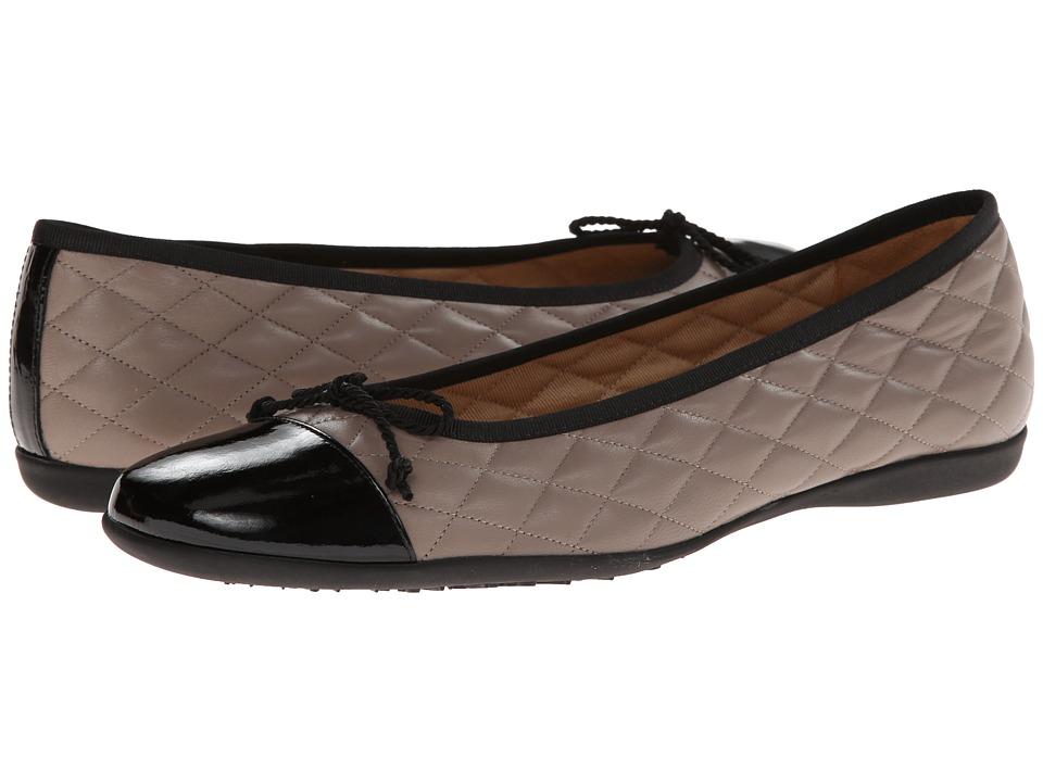 French Sole - PassportR (Black Patent w/ Grey Calf) Women's Dress Flat Shoes