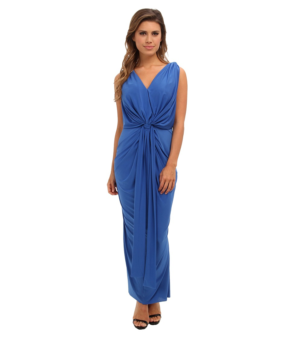 Tbags Los Angeles - V-Neck Drape Sleeve Waisted Maxi w/ Tie Belt (Periwinkle) Women's Dress