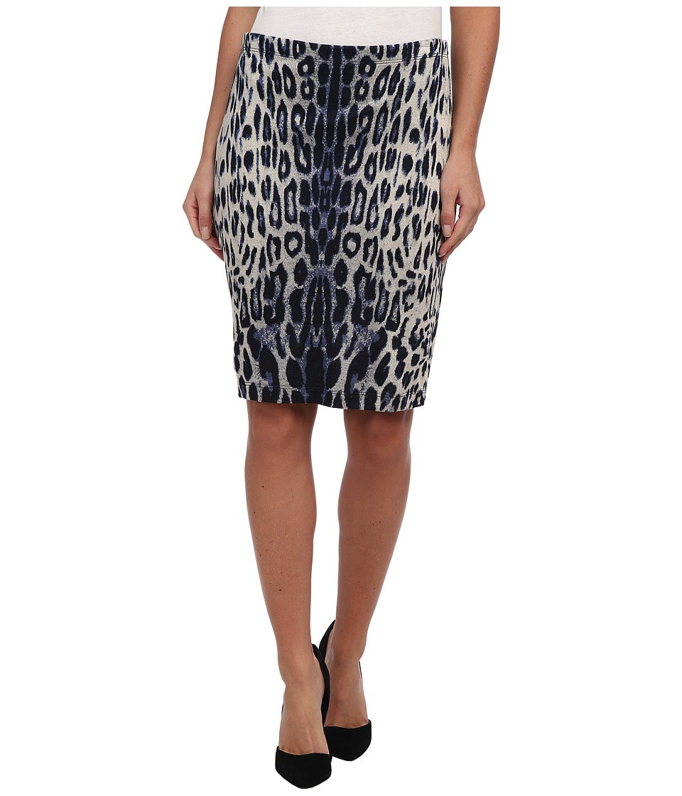 Karen Kane - Leopard Print Textured Skirt (French Blue) Women's Skirt