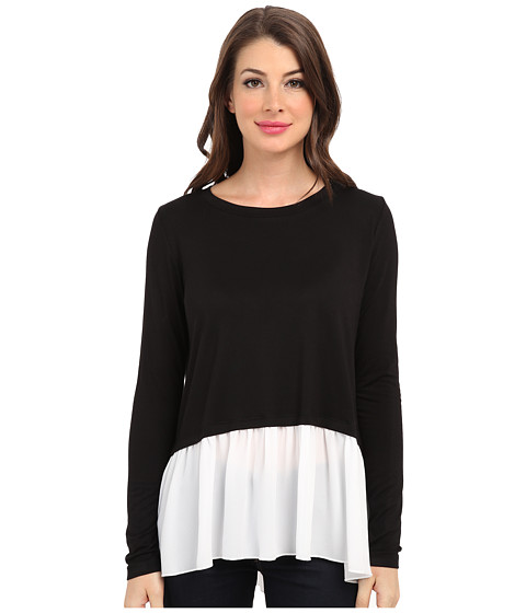 Karen Kane - Mix-And-Match Contrast Hem Top (Black/Off-White) Women's Long Sleeve Pullover