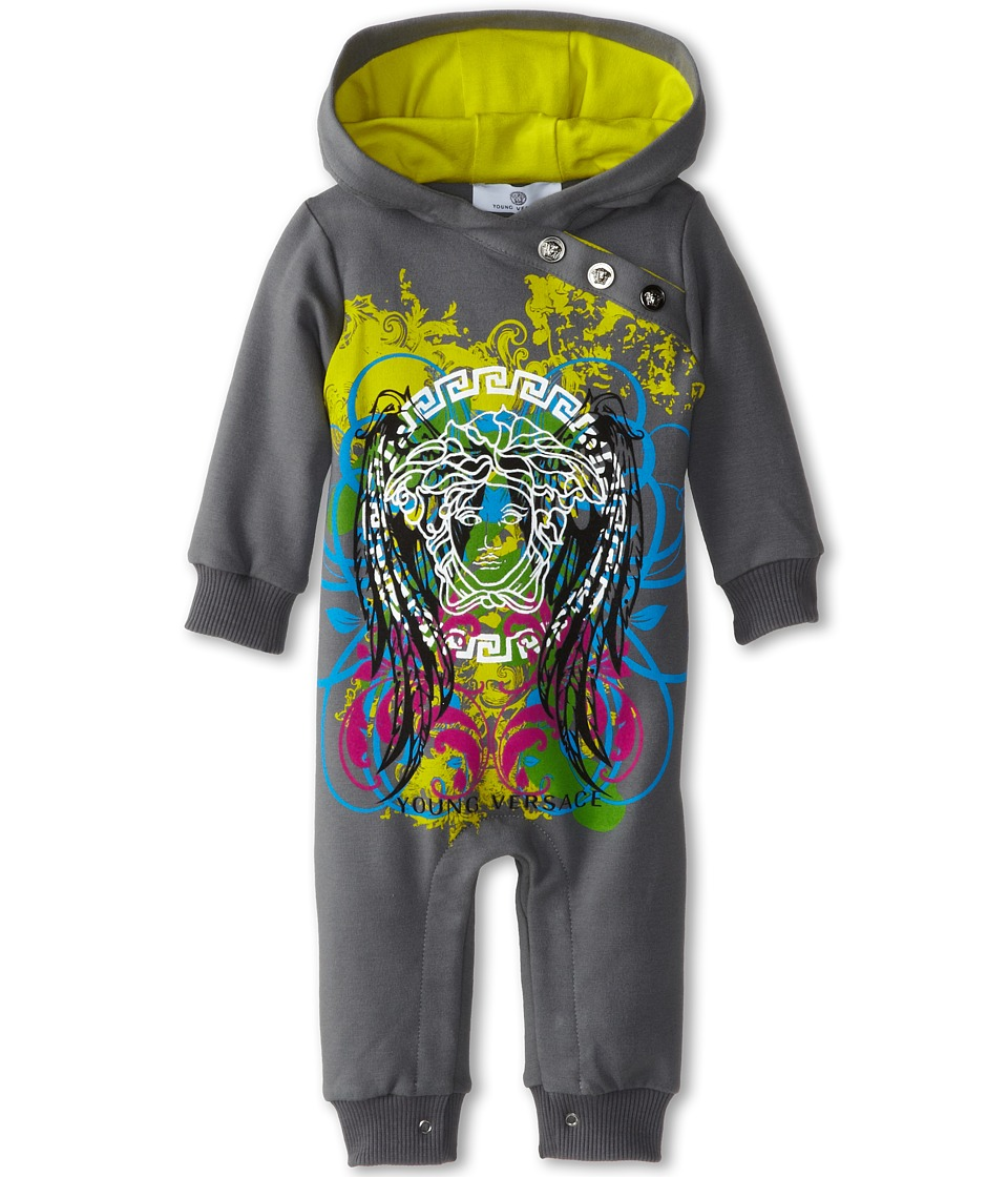 Versace Kids - Hooded Romper w/ Graphics (Infant) (Grey) Boy's Jumpsuit & Rompers One Piece