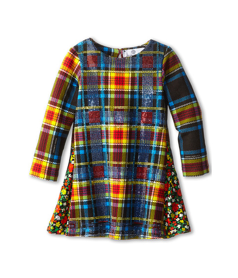 Versace Kids L/S Plaid Dress w/ Floral Details (Infant) (Plaid) Girl's Dress