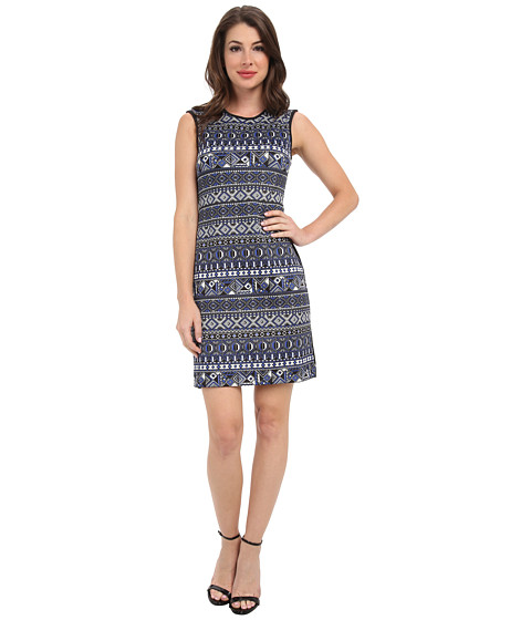 Karen Kane - Blue Moon Tile Print Dress (Print) Women's Dress