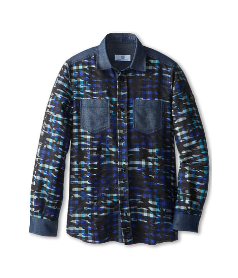 Versace Kids - Check Camo Button Down Shirt (Big Kid) (Blue) Boy's Long Sleeve Button Up