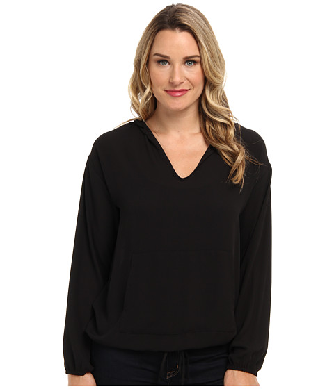 Karen Kane - Kangaroo Pocket Hoodie (Black) Women's Sweatshirt