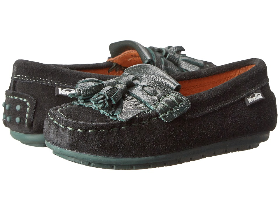 Venettini Kids - 55-Riva (Toddler/Little Kid) (Black Suede/Hunter Green Leather) Kids Shoes