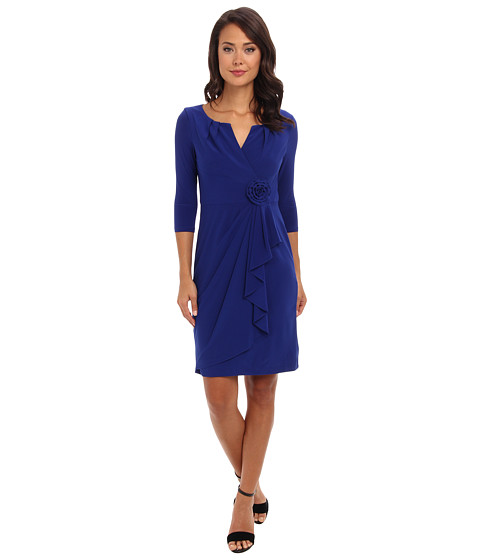 Adrianna Papell - 3/4 Sleeve Lap Over Dress (Sapphire) Women