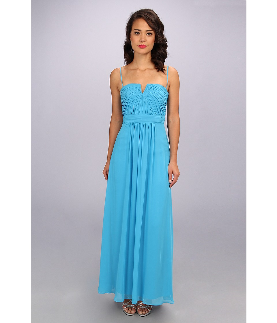 Laundry by Shelli Segal Shirred Gown (Cerulean) Women