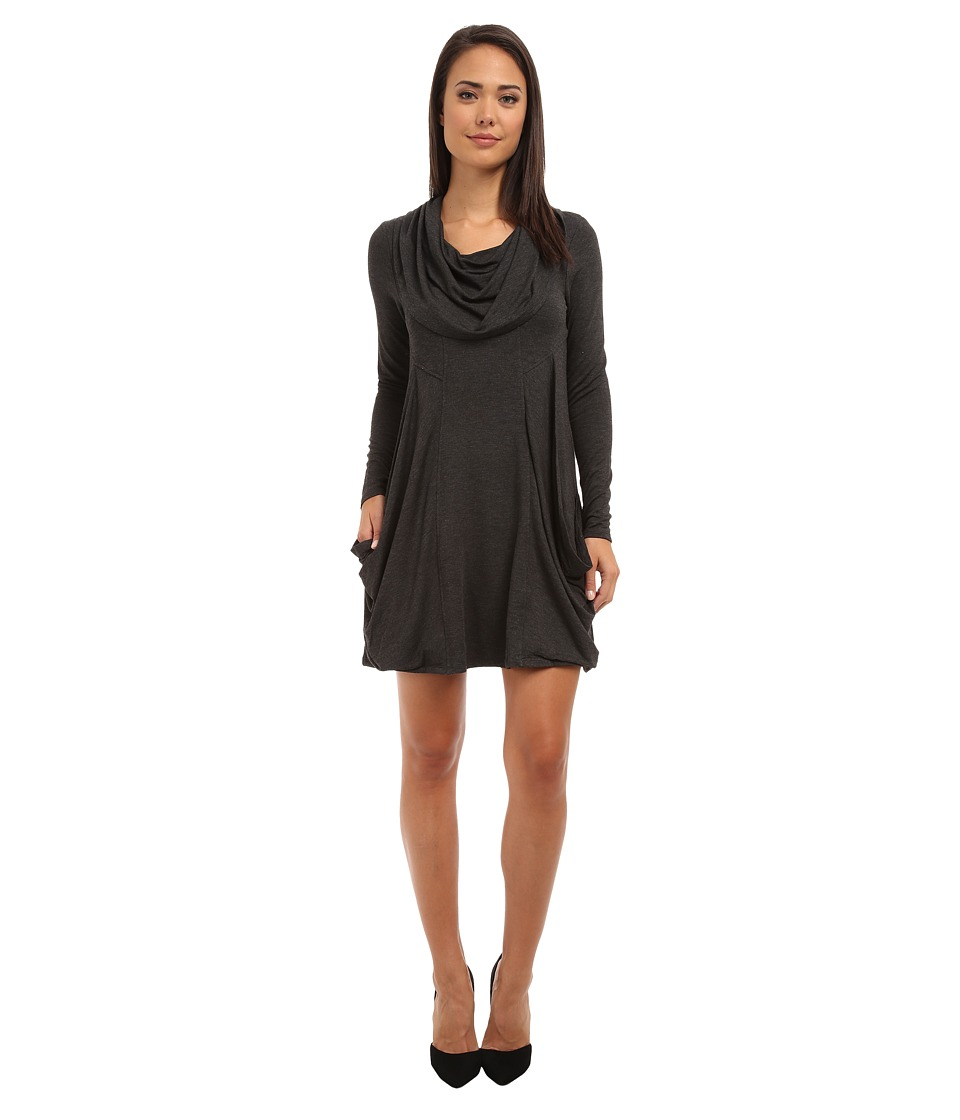 kensie - Cowl Neck Pocket Dress (Heather Charcoal) Women's Dress