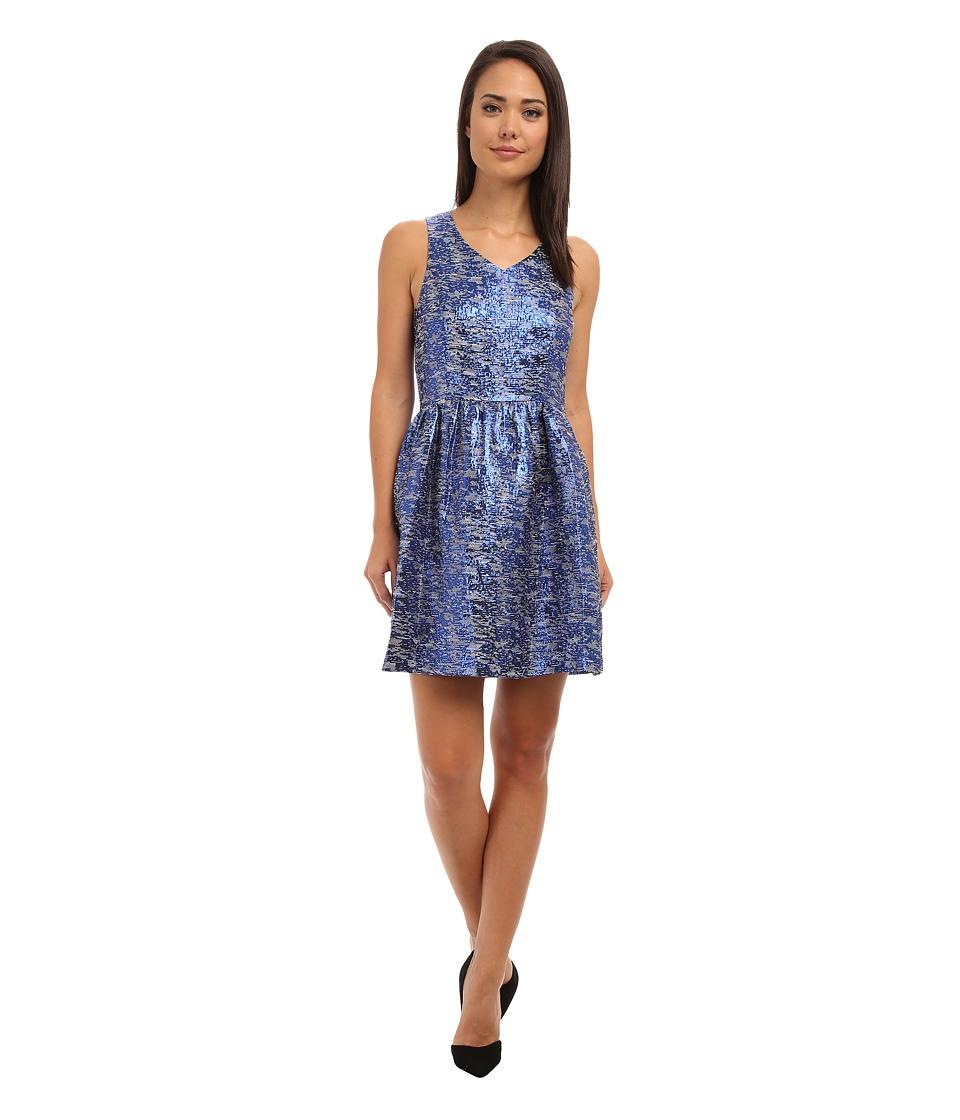 kensie Nubbly Lurex Jacquard Dress (Striking Blue Combo) Women