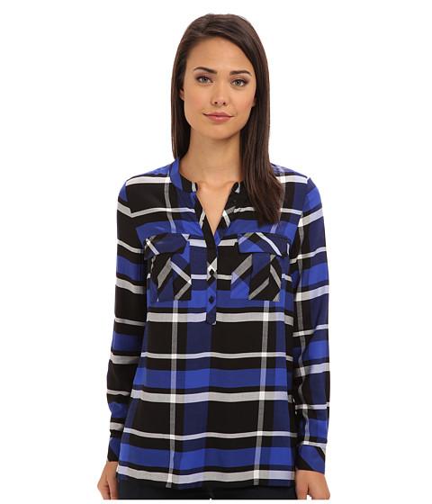 kensie - Yarn Dyed Plaid Shirt (Striking Blue Combo) Women