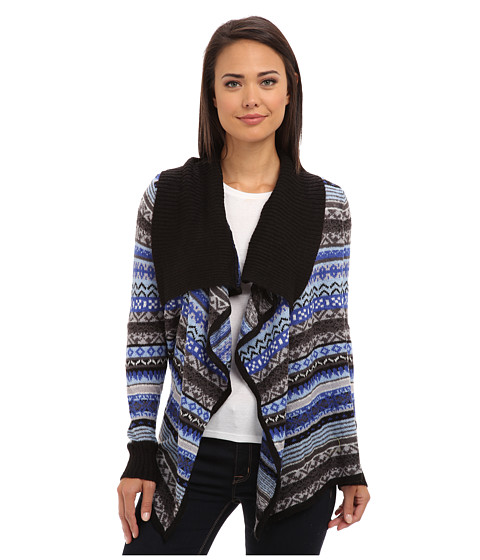 kensie - Tissue Knit Cardigan (Black Combo) Women