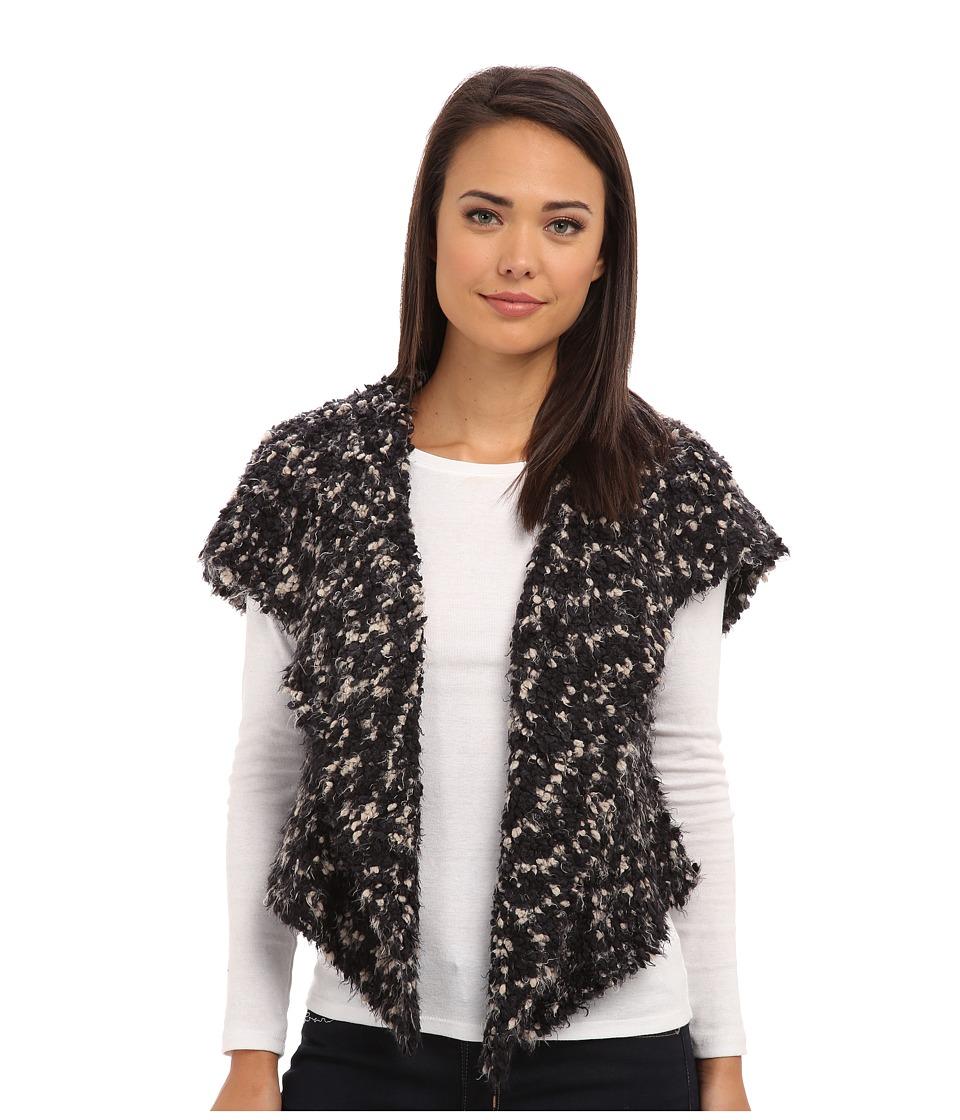 kensie - Space Dye Chubby Fur Vest (Black/Chai Combo) Women