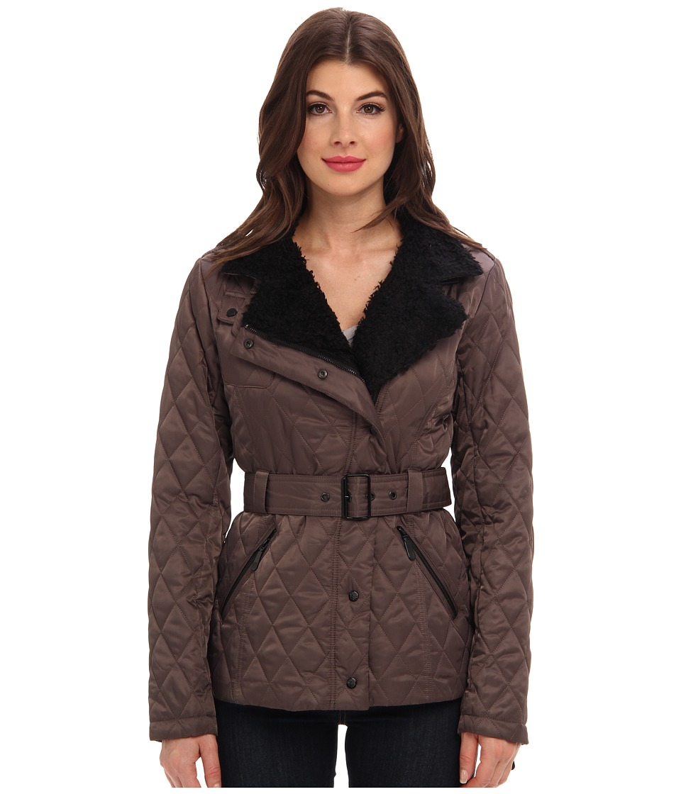 Vince Camuto - Quilted Jacket with Faux Fur Collar G8091 (Pewter) Women
