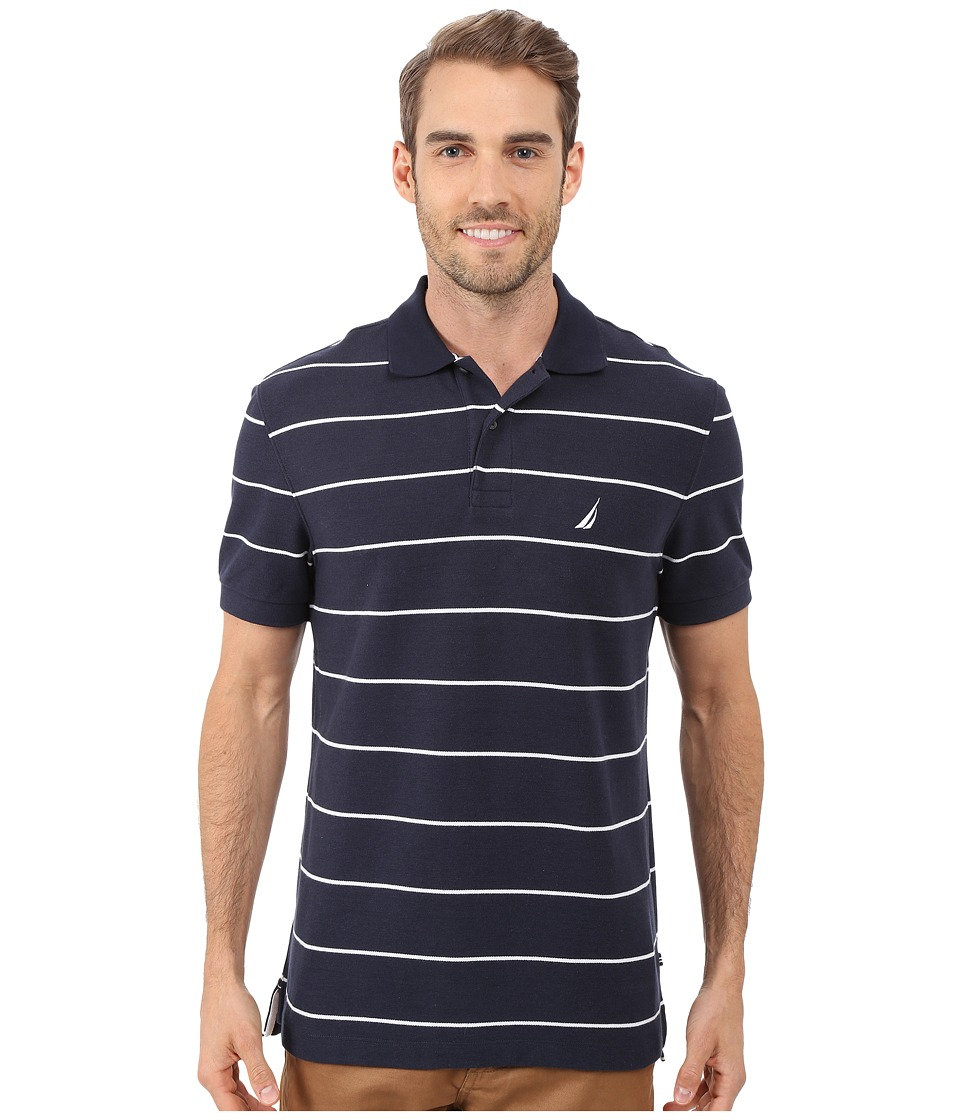Nautica - Striped Performance Deck Polo Shirt (Navy) Men's Short Sleeve Pullover
