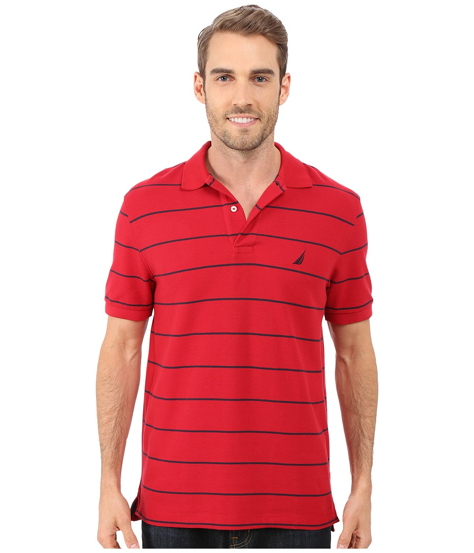 Nautica - Striped Performance Deck Polo Shirt (Nautica Red) Men's Short Sleeve Pullover