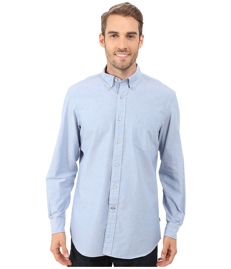 Nautica - Solid Oxford L/S Woven Shirt (Petrol) Men's Long Sleeve Button Up