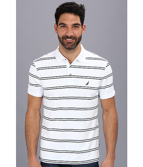 Nautica - Stripe Tech S/S Pique Polo Shirt (Bright White) Men
