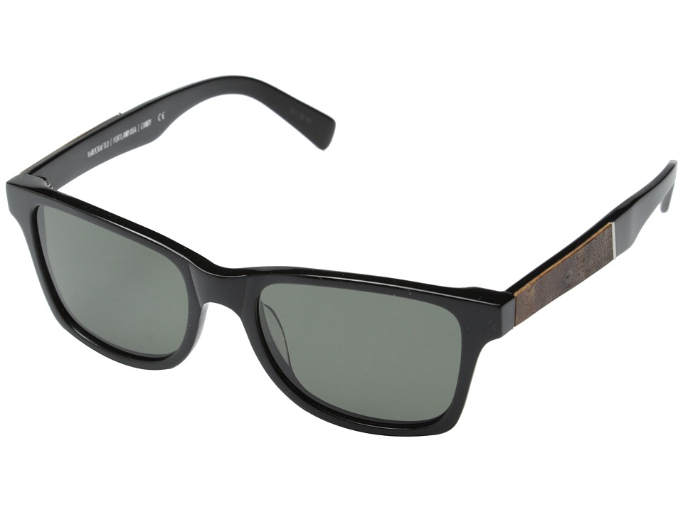 Shwood - Canby Fifty-Fifty - Polarized (Black // Elm Burl - Grey Polarized) Sport Sunglasses