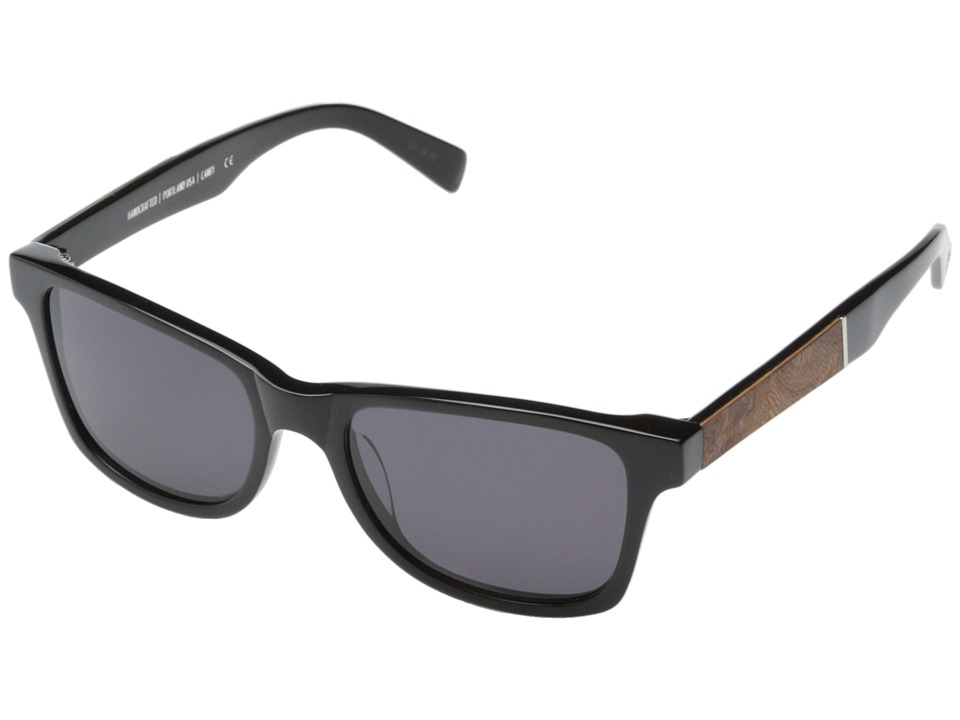 Shwood - Canby Fifty-Fifty (Black // Elm Burl - Grey) Sport Sunglasses