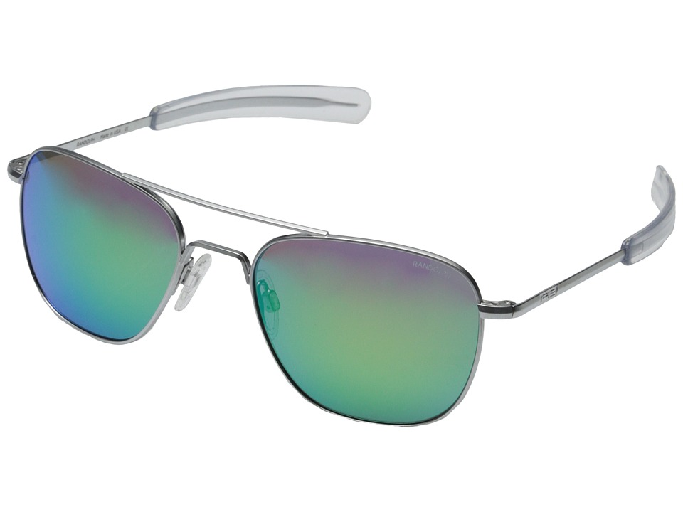Randolph - Aviator 55mm (Matte Chrome/Green Flash) Fashion Sunglasses