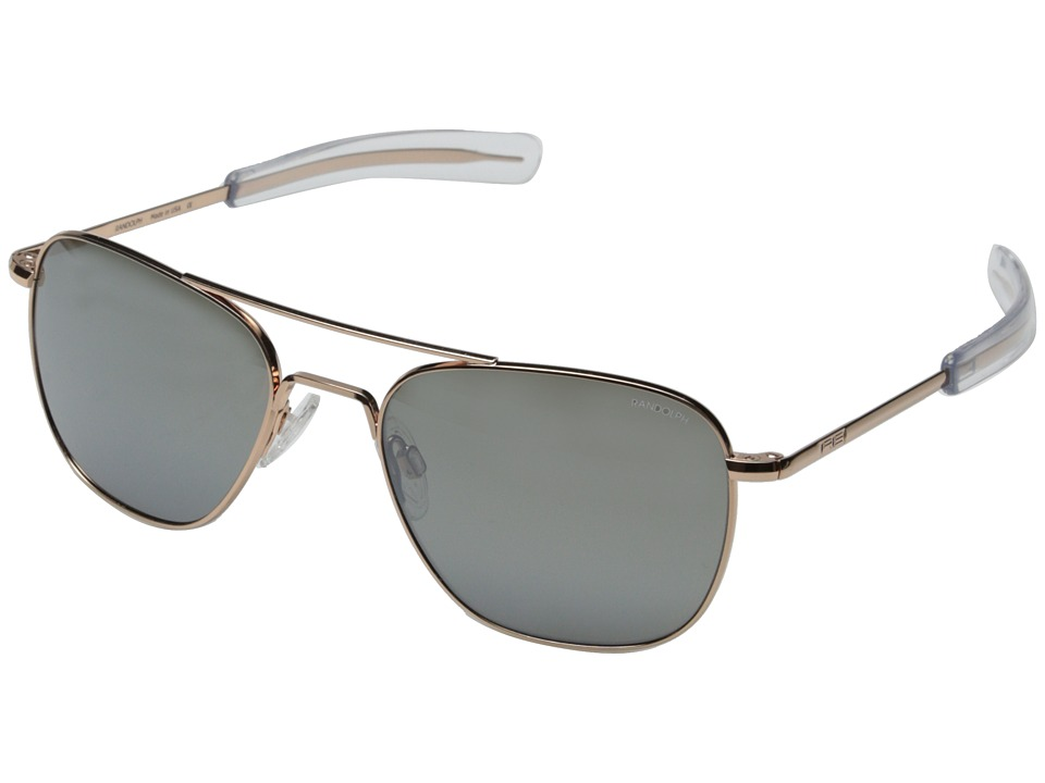 Randolph - Aviator 55mm (Rose Gold/Grey Flash Mirror) Fashion Sunglasses