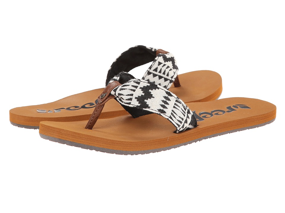 Reef - Scrunch TX (Black/White) Women's Sandals