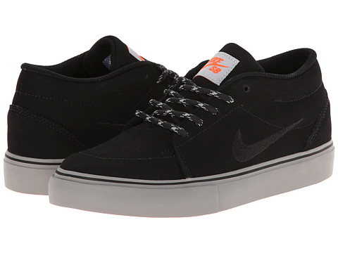 Nike SB Kids - Satire Mid GS (Big Kid) (Black/Black/Reflective Silver/Medium Grey) Boys Shoes