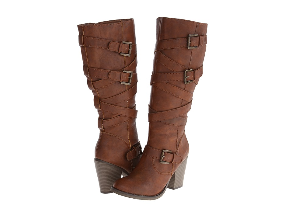 Madden Girl - Kiickbak (Cognac PU) Women's Zip Boots