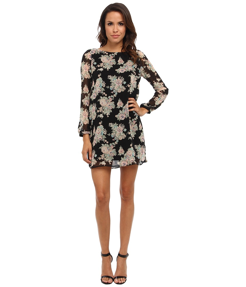 Christin Michaels - Erin Shift Dress (Black Floral) Women's Dress