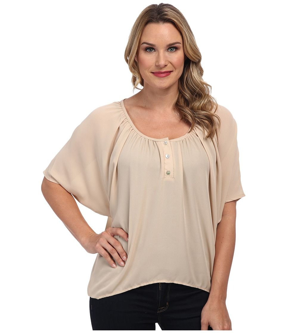 Christin Michaels - Celina Top (Taupe) Women's Clothing
