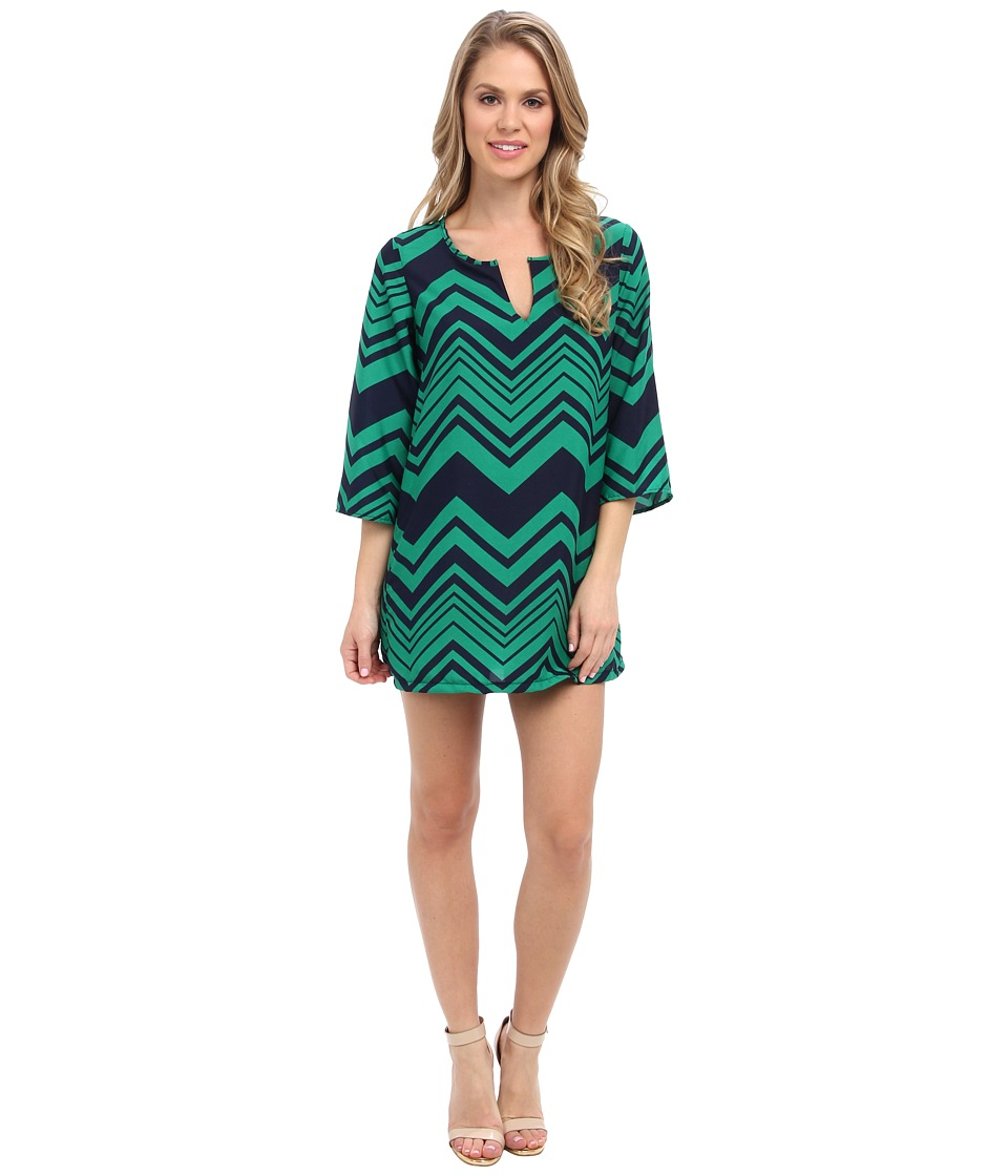 Christin Michaels - Kathryn Shift Dress (Navy Green Chevron) Women's Dress