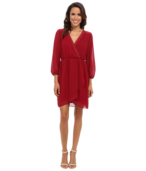 Christin Michaels - Adalyn Wrap Dress (Burgundy) Women