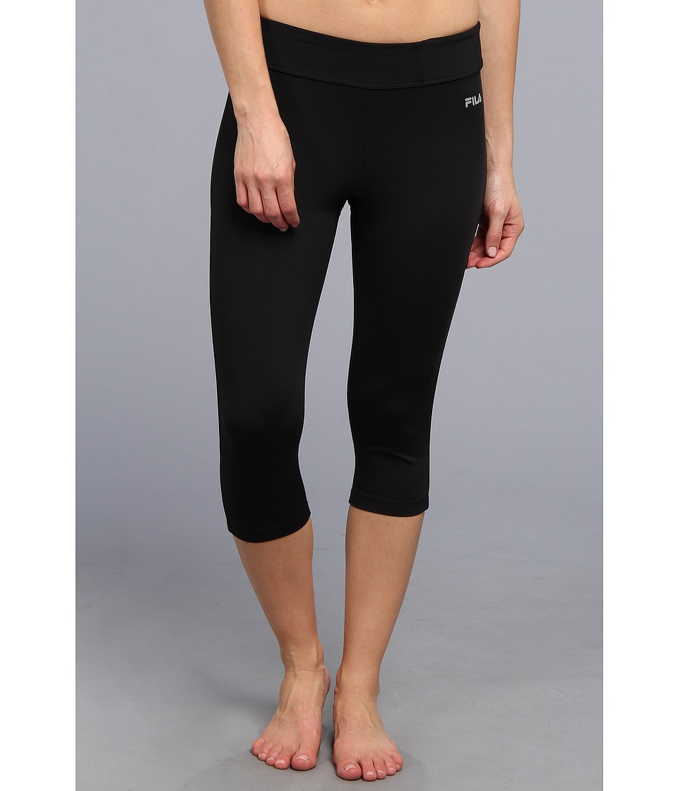 Fila - Side Piped Tight Capri (Black/Black) Women's Capri