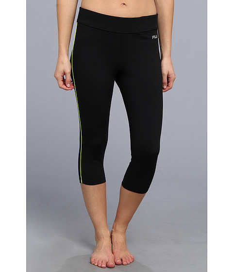 Fila - Side Piped Tight Capri (Black/Safety Yellow) Women's Capri