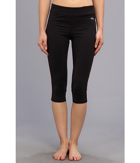 Fila - Side Piped Tight Capri (Black/Pink Glo) Women