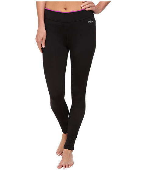Fila - Tipped Waist Legging (Black/Purple Cactus Flower) Women