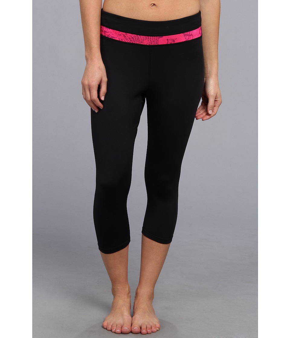 Fila - Animal Print Tight Capri (Black/Pink Glo/Concord Reptile Print) Women's Workout